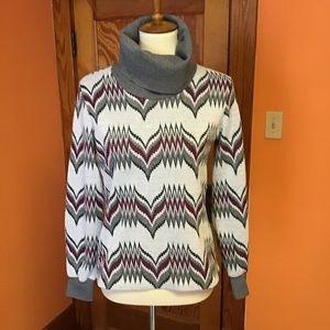 Vintage 70s funky Chevron Knit turtleneck shirt